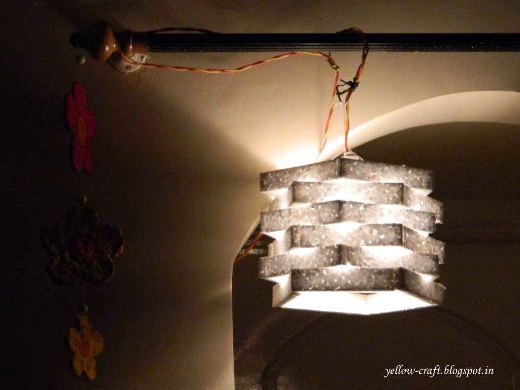 Diy thermocol lamp shade yellow craft aloadofball Image collections