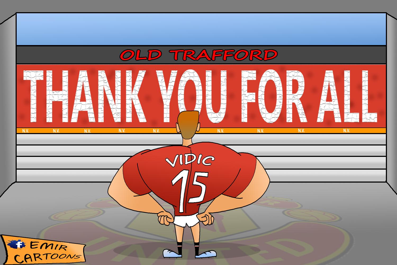 Nemanja Vidić ,Nemanja Vidić inter,Nemanja Vidić  Manchester United,Manchester United,kapiten,Old Traforda,emir balkan cartoons,fudbal,karikature,karikatura dana,