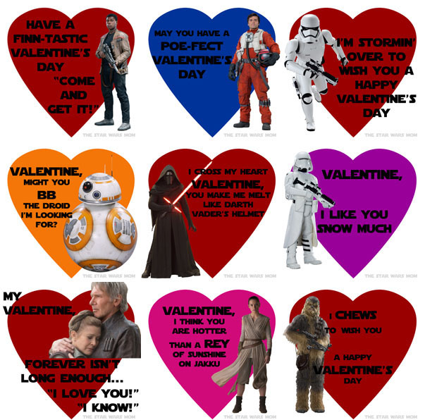 Star Wars The Force Awakens Valentines Free Printables