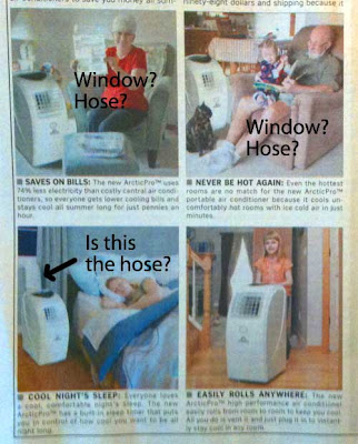 Close up of the photos in the ad, showing elderly people in easy chairs with no windows visible, a child rolling one of the units, and a woman sleeping with blankets next to a unit near a window