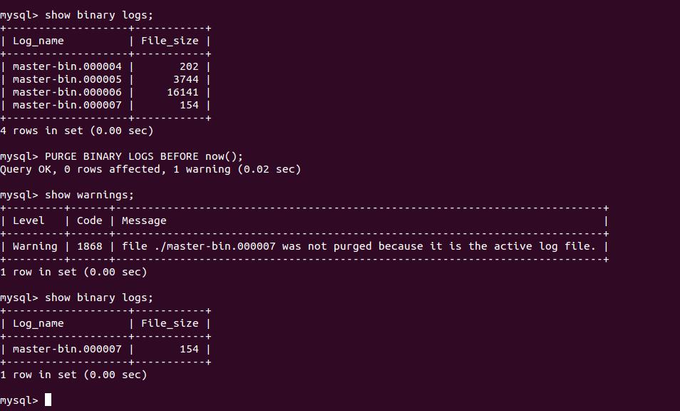Mysql binary log options
