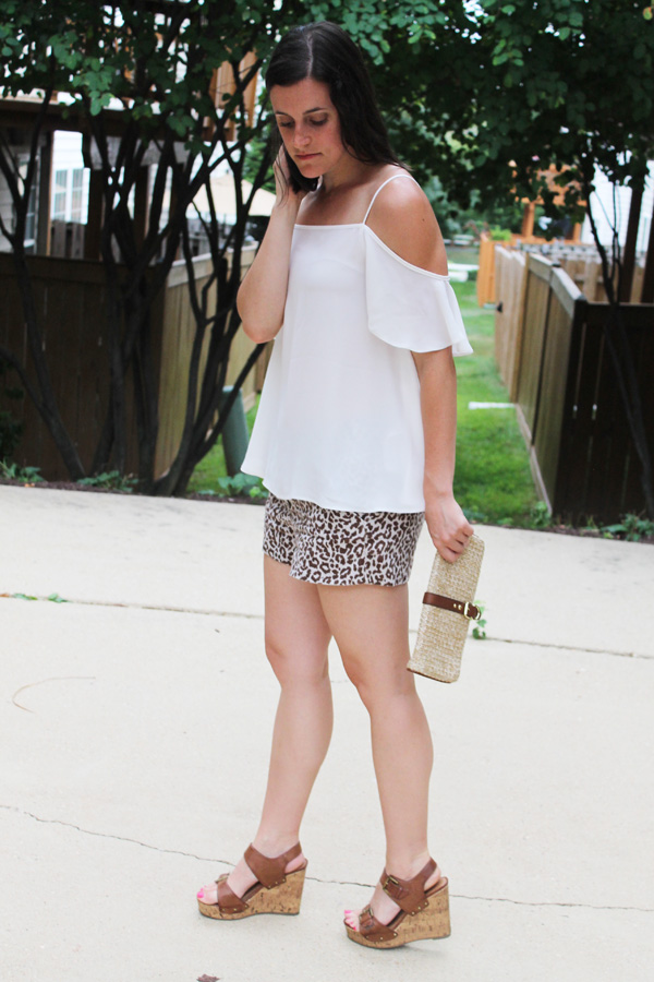 ASOS, ASOS Off The Shoulder Top, Off The Shoulder top, summer outfit, summer, leopard shorts, J. Crew leopard shorts, Target, Target wedges, Gap clutch, date night
