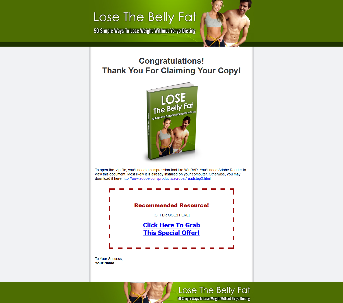 Lose The Belly Fat Thank You Page