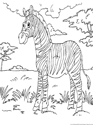 Printable zebra kids coloring pages