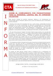 SOBRE EL COMPLEMENTO POR PRODUCTIVIDAD PARA EL PERSONAL LABORAL DEL VI CONVENIO COLECTIVO
