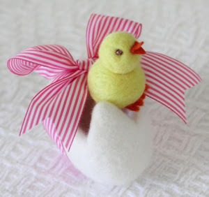 Wet Felted Easter Chick in an egg
