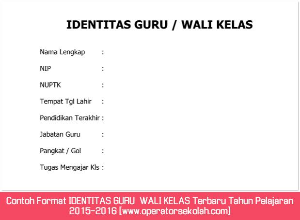 Contoh Format IDENTITAS GURU  WALI KELAS Terbaru Tahun Pelajaran 2015-2016 [www.operatorsekolah.com]