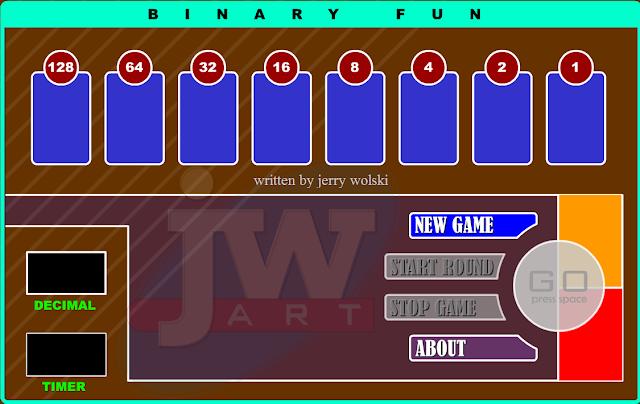 Το παιχνίδι Binary Fun είναι ένα παιχνίδι για την μετατροπή ενός αριθμού από το δεκαδικό στο δυαδικό σύστημα αρίθμησης.
