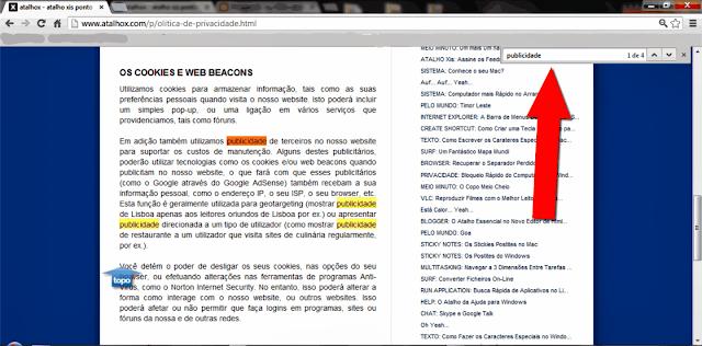 Filtrar pesquisas para o termo publicidade, no navegador google chrome