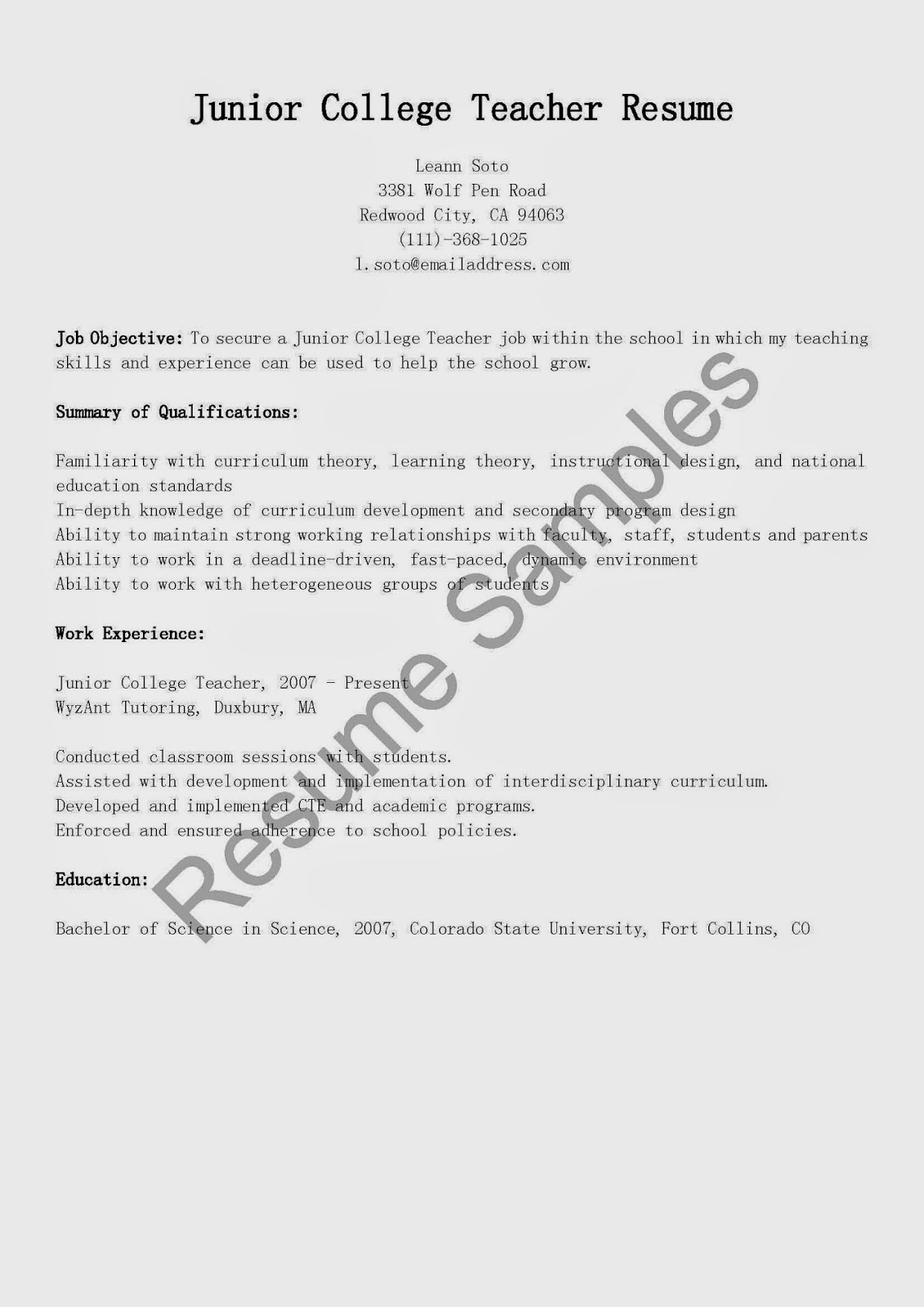 resume samples  junior college teacher resume sample