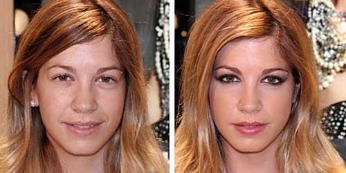 Maquillaje antes y despues para ojos cansados