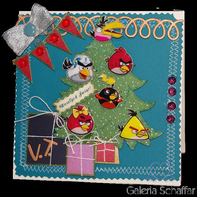Kolorowa i wesoła kartka świąteczna z Angry Birds dla malego Vincenta