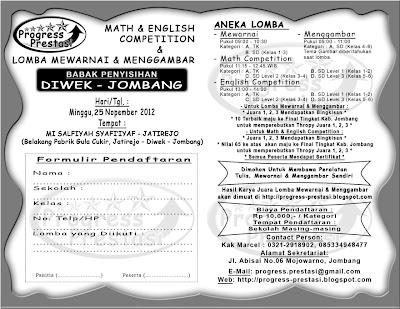 Progress Prestasi | Brosur Math & English Competition & Lomba Mewarnai dan Menggambar Babak Penyisihan Kec. Diwek - Jombang