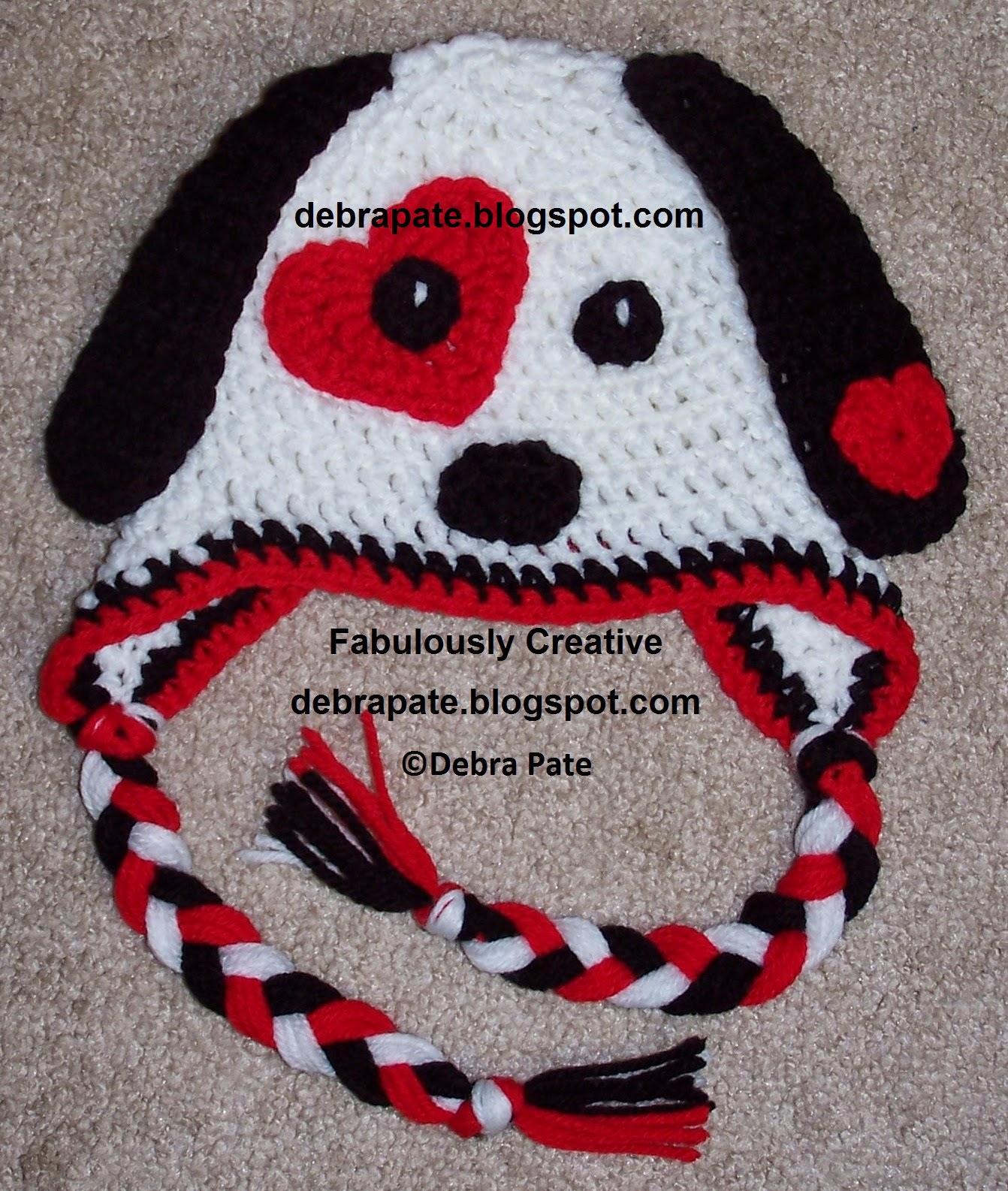 Fabulously Creative: PUPPY LOVE CROCHET HAT - VALENTINE'S DAY