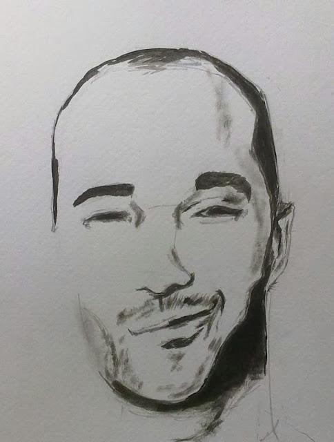 dibujo de expresion facial con tinta
