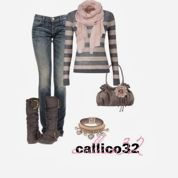 Scarf grey sweater denim pants with purse