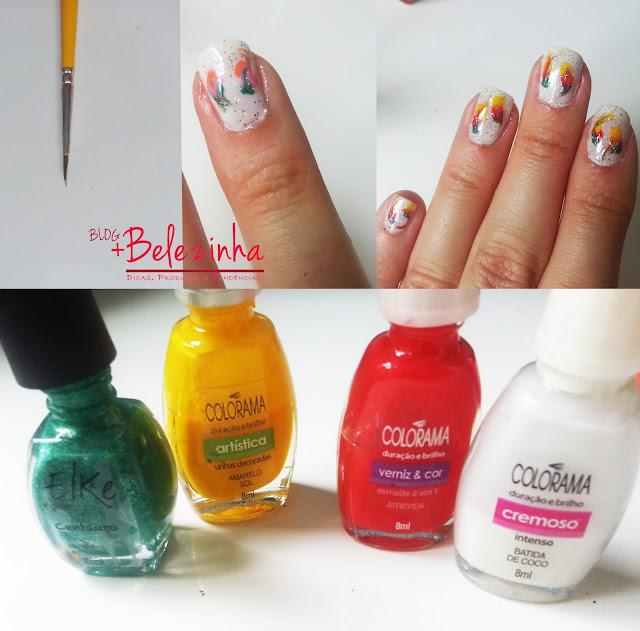 esmalte-verde-amarelo-rosa-unhas-decoradas-fácil