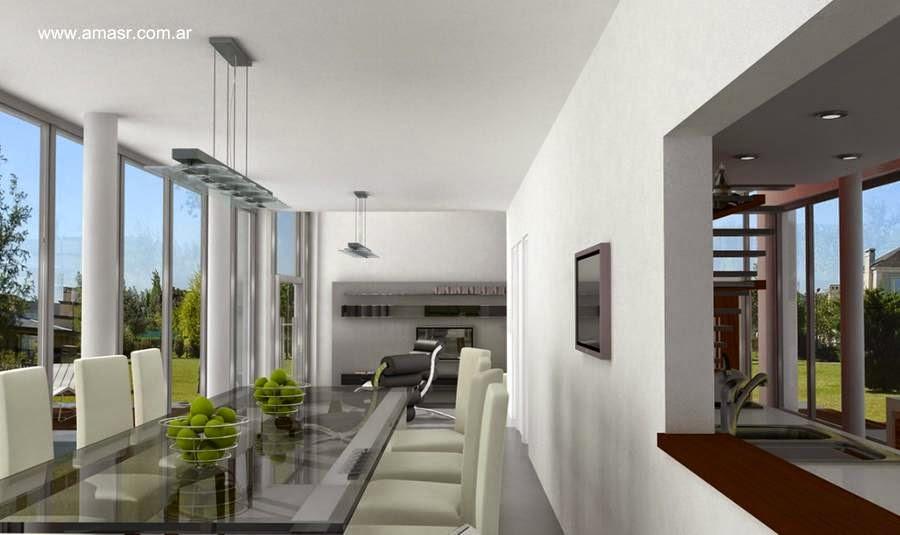 Interior de residencia contemporánea suburbana en Buenos Aires