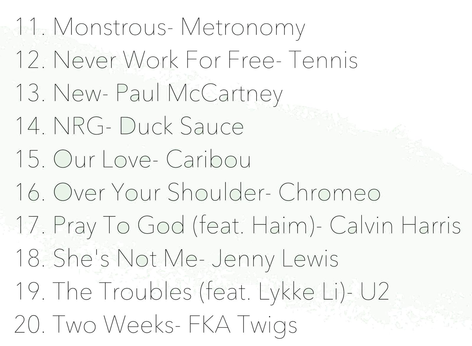 December 2014 Playlist
