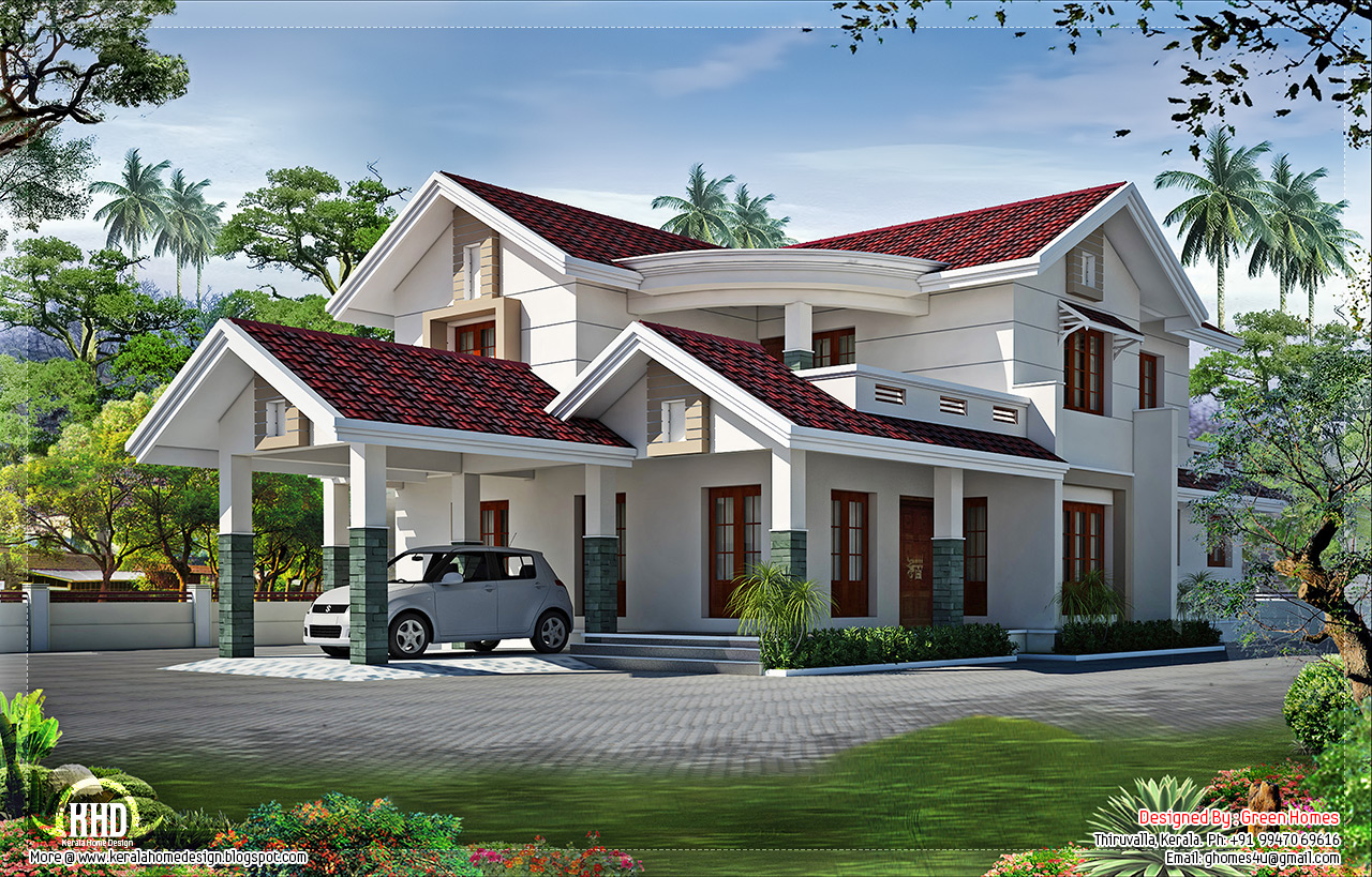 Superb looking 4 bedroom villa design kerala home design for Villa plans in kerala