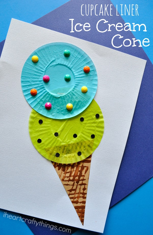 cupcake liner ice cream cone kids craft i heart crafty things