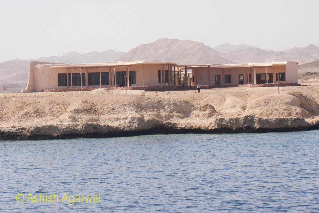 Buildings on the shore in the Ras Muhammed marine park near Sharm el Sheikh in Egypt