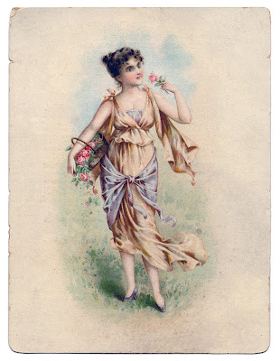 Vintage Image Lady with Flower Basket
