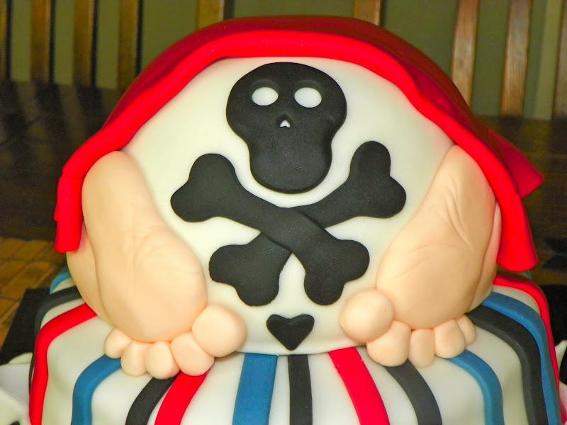 plumeria cake studio pirate baby bottom shower cake