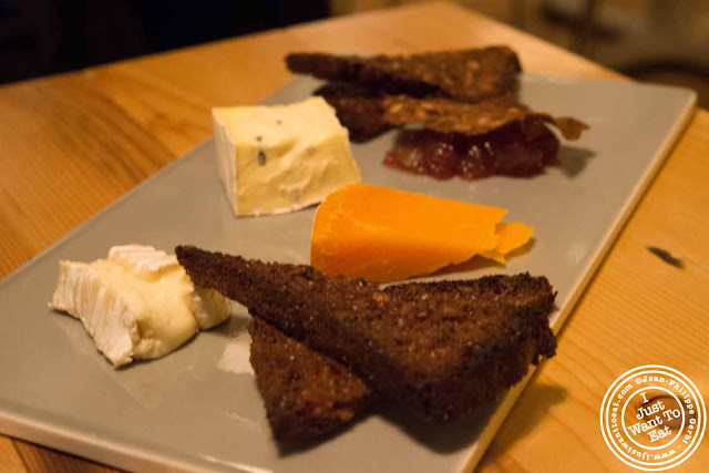 Image of Cheese plate with fried rye bread at Aamanns-Copenhagen in Tribeca, NYC, New York
