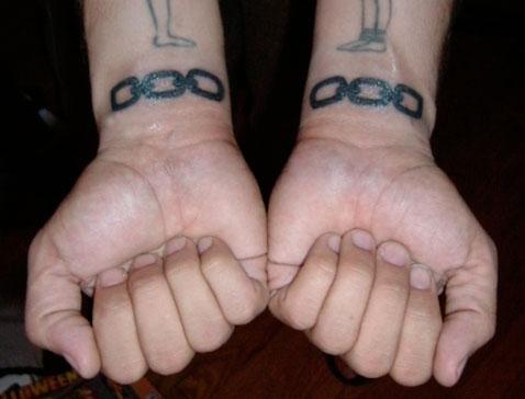 tatuagem de corrente no pulso