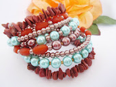 Turquoise Pearl and Goldstone Cuff Bracelet