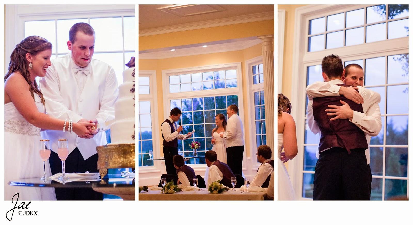 Jonathan and Julie, Bird cage, West Manor Estate, Wedding, Lynchburg, Virginia, Jae Studios, bride, groom, wedding dress, tuxedo, cutting, cake, hugging, best man speech, windows, pink, gold, purple