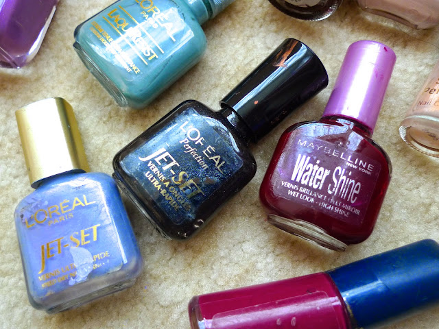 old vintage nail polishes from loreal, maybelline, revlon, avon, high shine and metallic colours