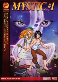 Cover of Mystic #1, featuring two pale-skinned girls in fighting stances.