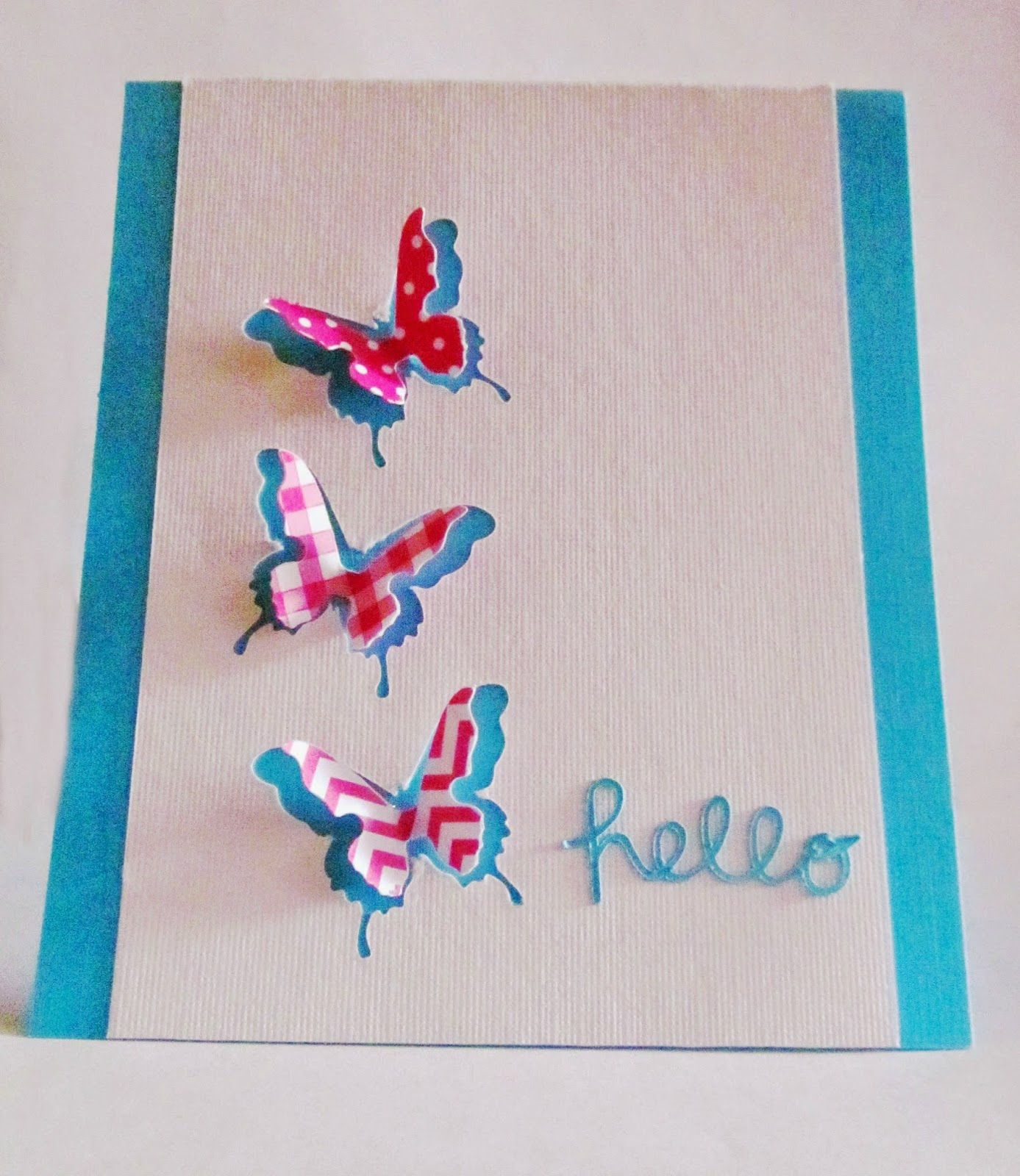 Hello Butterfly Card #DD97 (Melon Mambo & Tempting Turquoise)