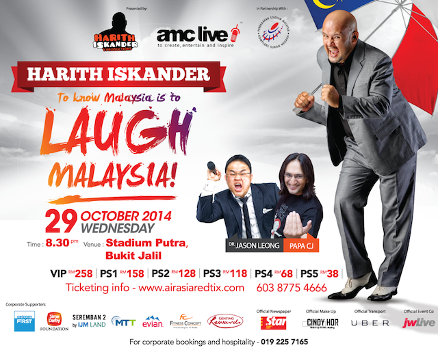 The banner for the upcoming LAUGH MALAYSIA event