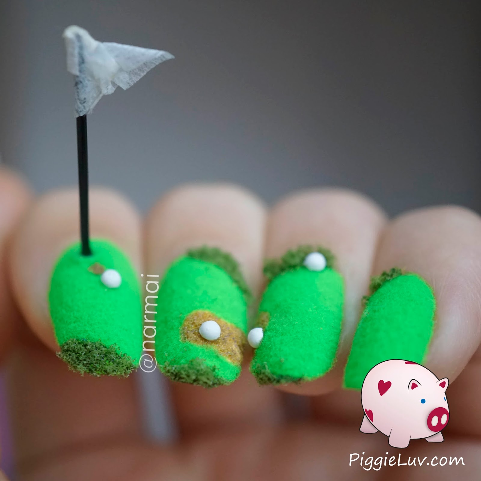 Heyyy It S Time For Some Crazy Stuff Again This Is A Golf Course Nail Art Design And What Better Way To Do Than With Something Sharp Sticking Up From