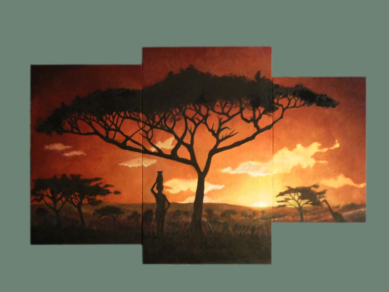 Fm oleos tr ptico de paisaje africano for Donde puedo comprar cuadros