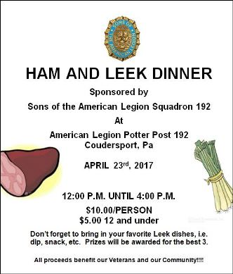 4-23 Ham & Leek Dinner Coudersport