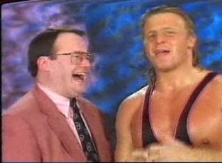 WWF / WWE - In Your House 6 - Rage in the Cage - Owen Hart and Jim Cornette gloat about Shawn Michaels' misfortunes