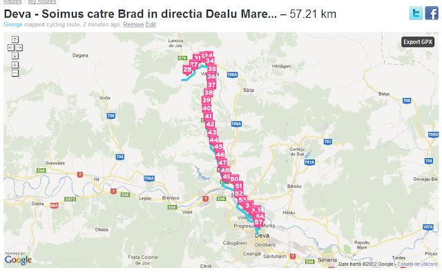 Traseu cu bicicleta oras Deva - comuna Soimus - catre orasul Brad si inante de Brad cu 9 km - 4 km pana in satul Dealu Mare