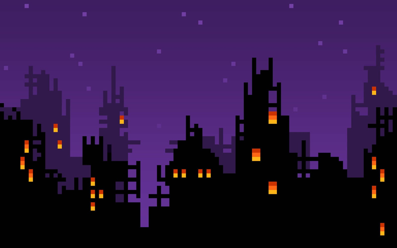 8 bit city landscape wallpaper