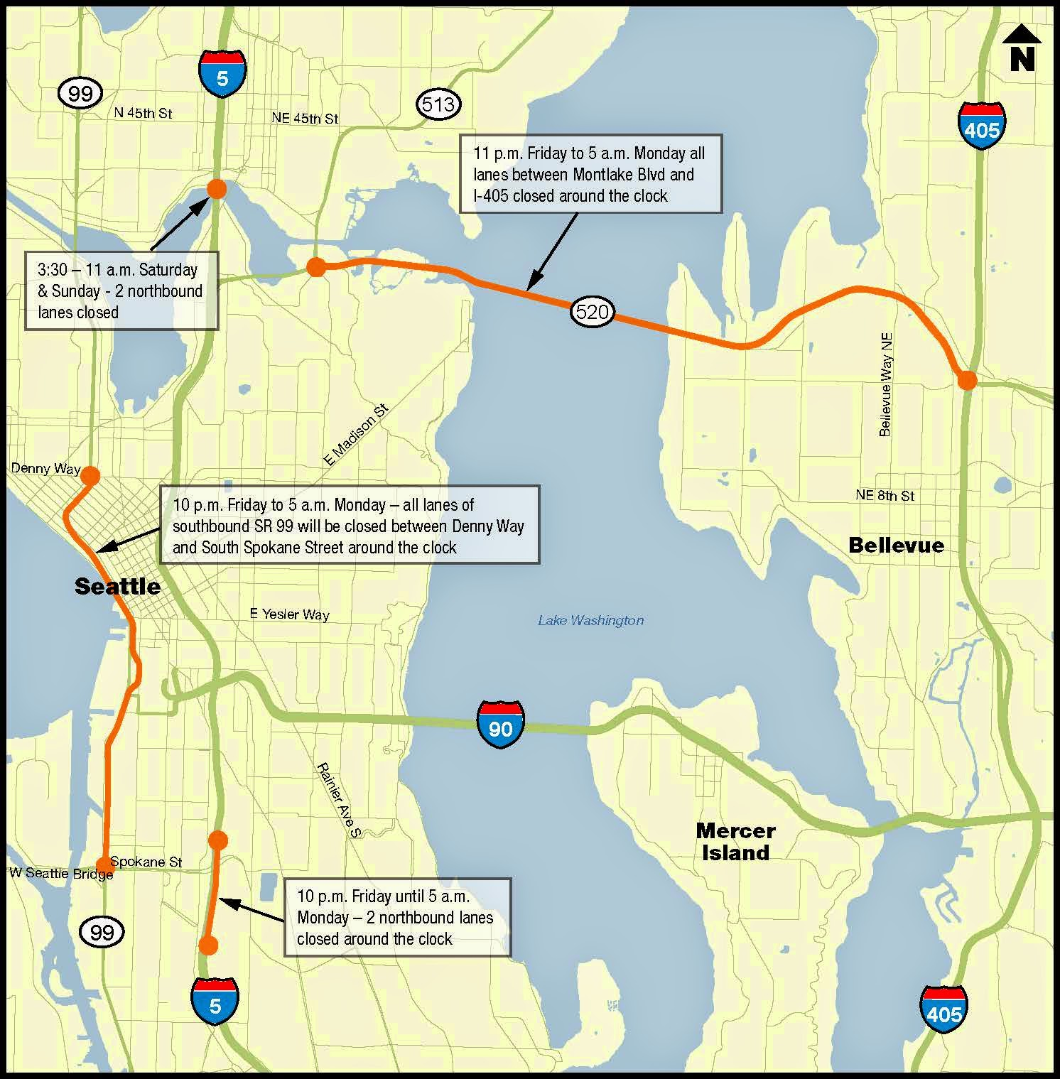 Seattle area construction map