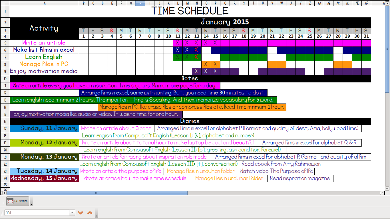 Calendar Excel Sia : Yanikmatilah saja cara membuat jadwal kegiatan