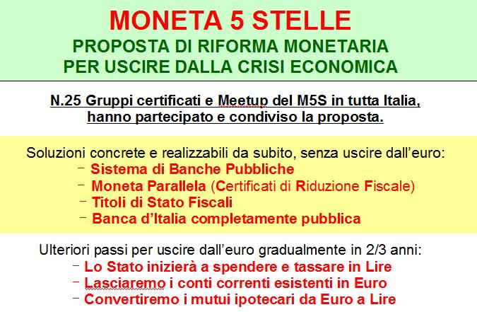 "PROPOSTA DI RIFORMA ""MONETA 5 STELLE"""