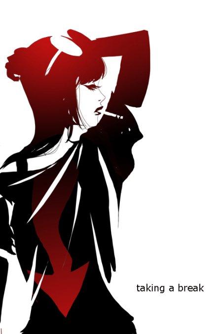 sho murase ilustrações singelas minimalistas espaço negativo mulheres super heroínas Fazendo uma pausa