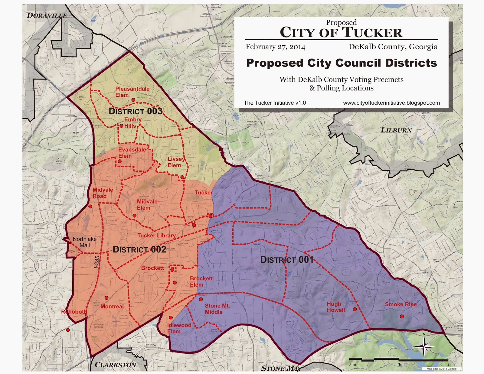 The Proposed New City Of Tucker Would Be Located In Northeast Dekalb County Georgia The Map Ilrates Central Core Area Based On A Longstanding Cdp