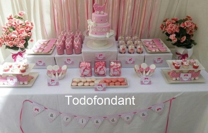 Todofondant mesa dulce para el bautizo de ariadna - Hacer mesa dulce bautizo ...