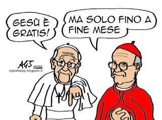 Papa Francesco, Bertone, Teologia, vignetta satira