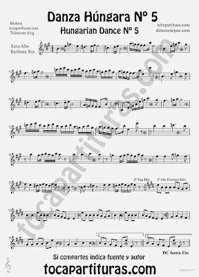 Tubescore Hungarian Dance nº 5 by Johannes Brahms Sheet Music for Alto Saxophone and Baritone Saxophone